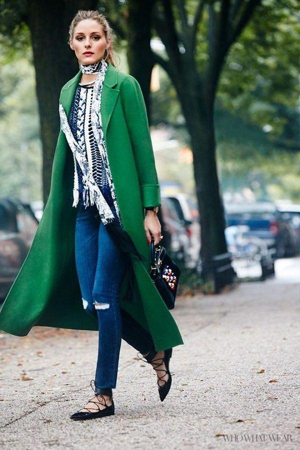 длинное пальто с джинсами