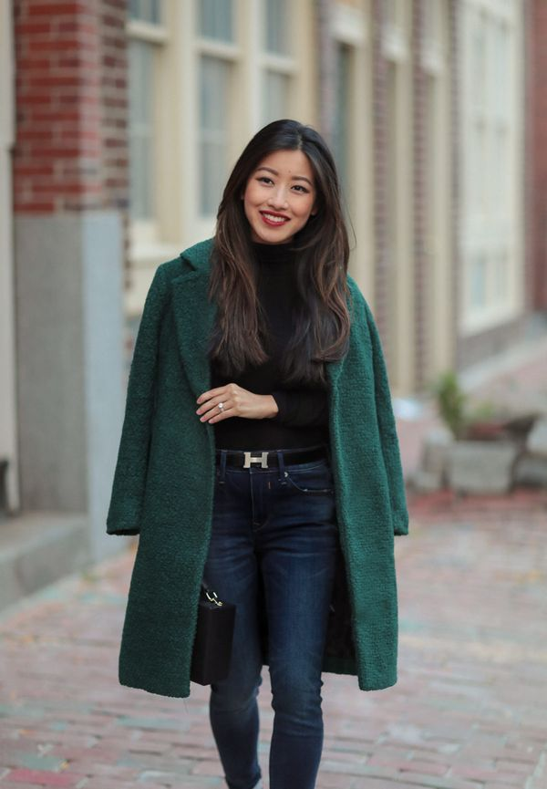 теплое шерстяное темно-зеленое пальто
