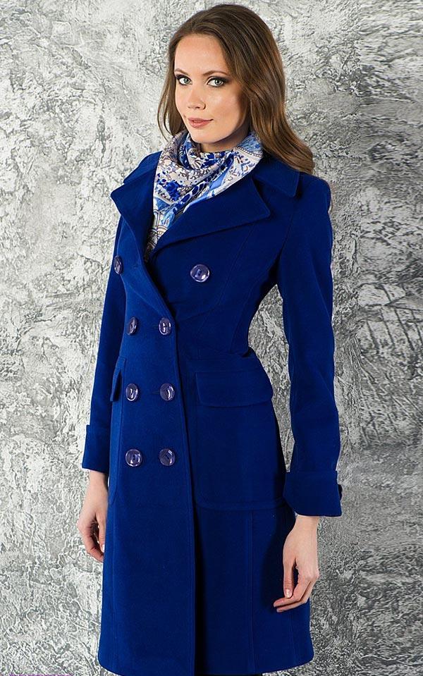 двубортное синее пальто
