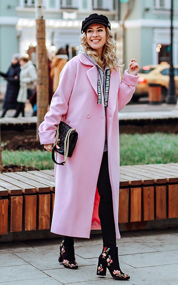 вариант комбинации с длинным пальто