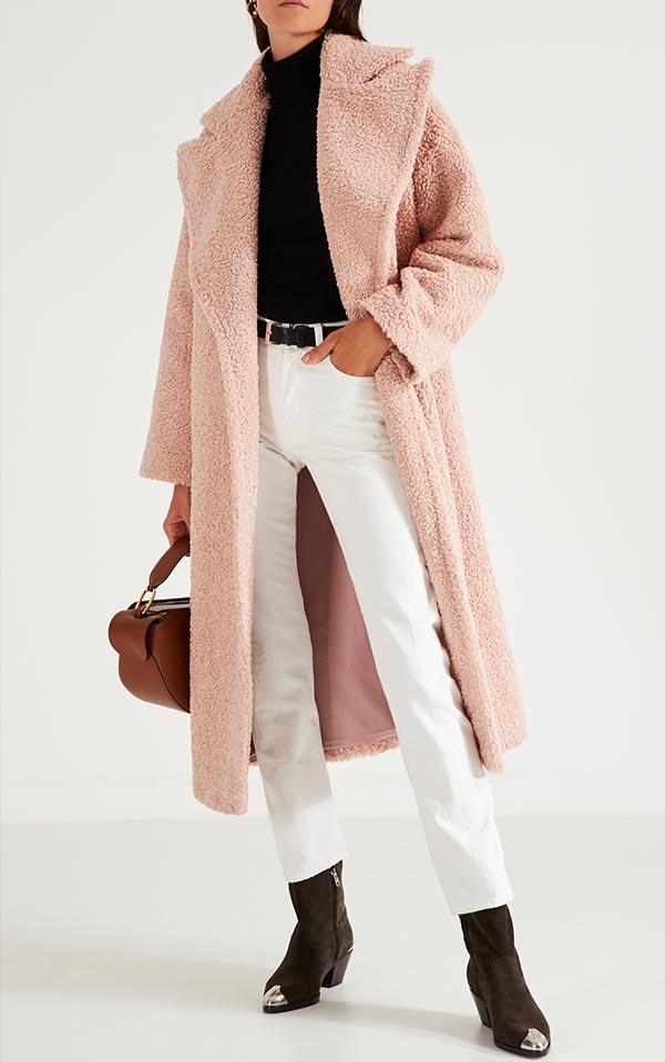 двубортное розовое пальто из искусственного меха