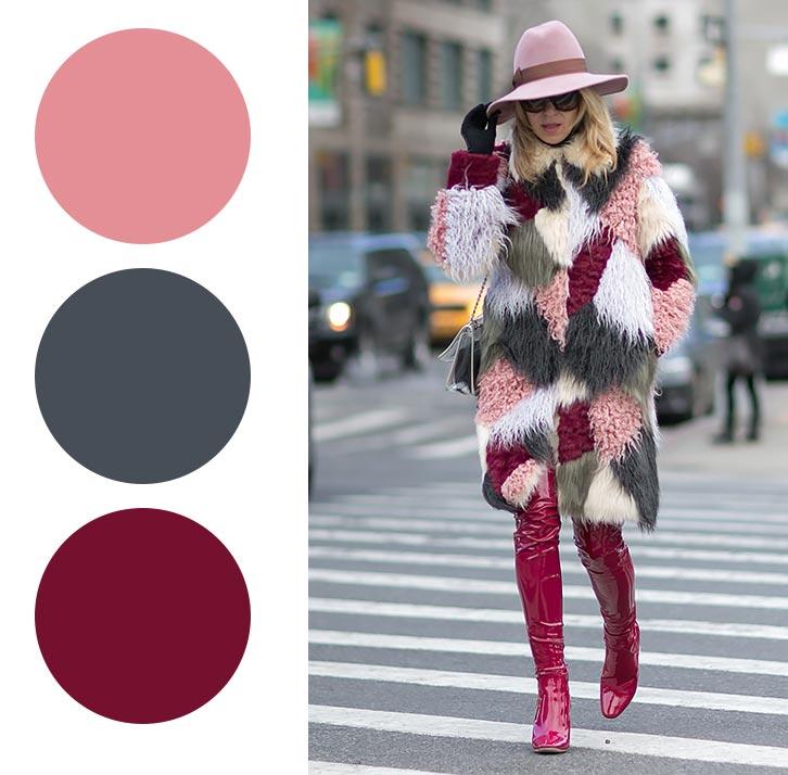 розовый, бордовый и серый