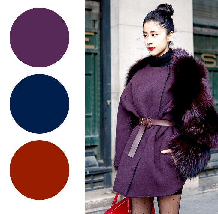фиолетовый с синим и красным в одежде