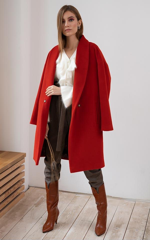 с чем носить красное пальто - образы на каждый день