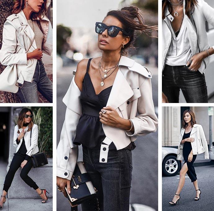 Белая кожаная куртка с чем носить