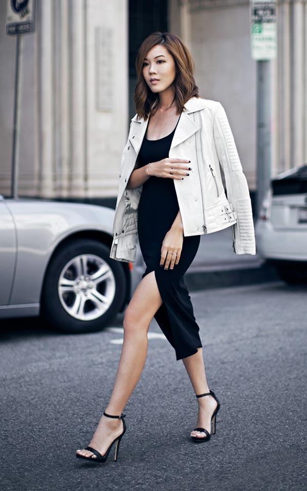 нарядный комплект с вечерним черным платьем, босоножками, белой курткой из кожи