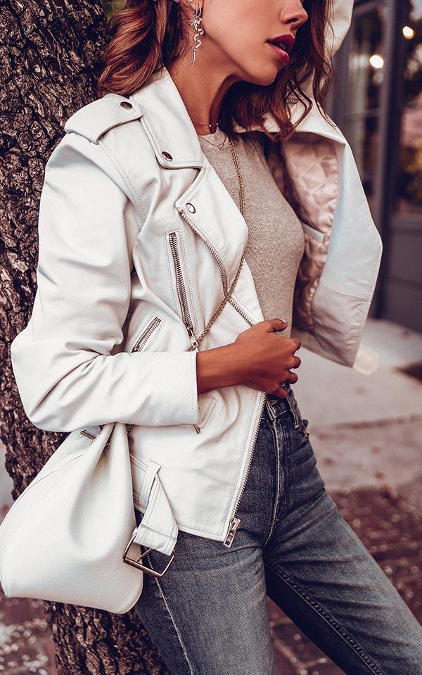 Белая кожаная куртка - с чем носить