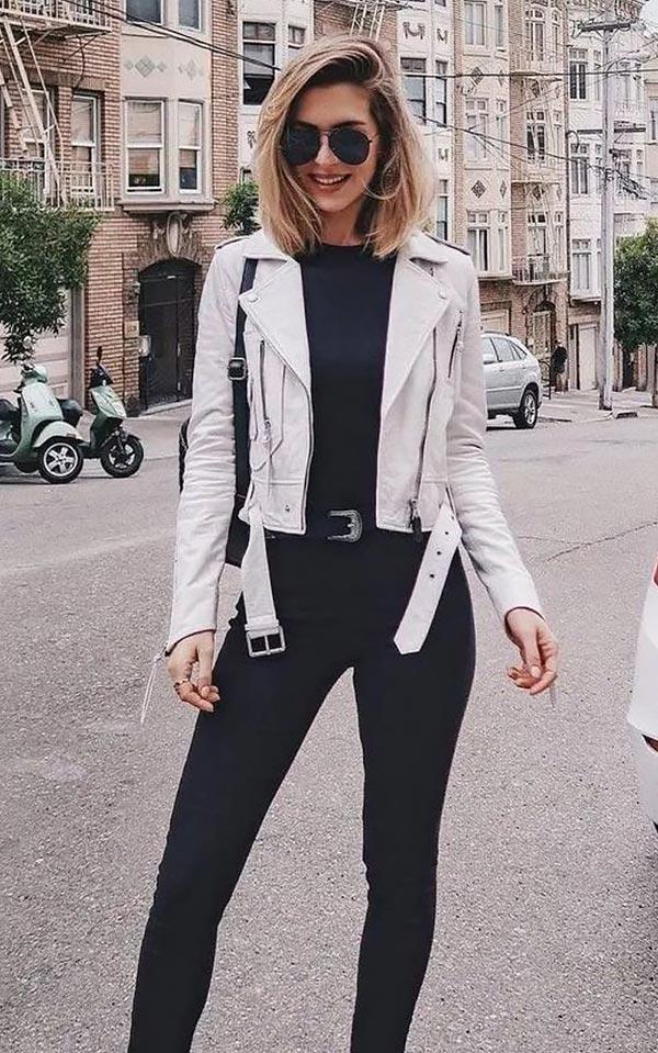 Белая кожаная куртка как и с чем носить ее каждый день