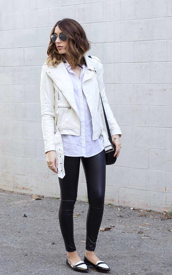 образ с белой кожаной курткой, черными легинсами и белой рубашкой