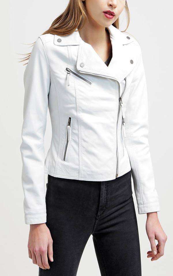 приталенная белая куртка из кожи