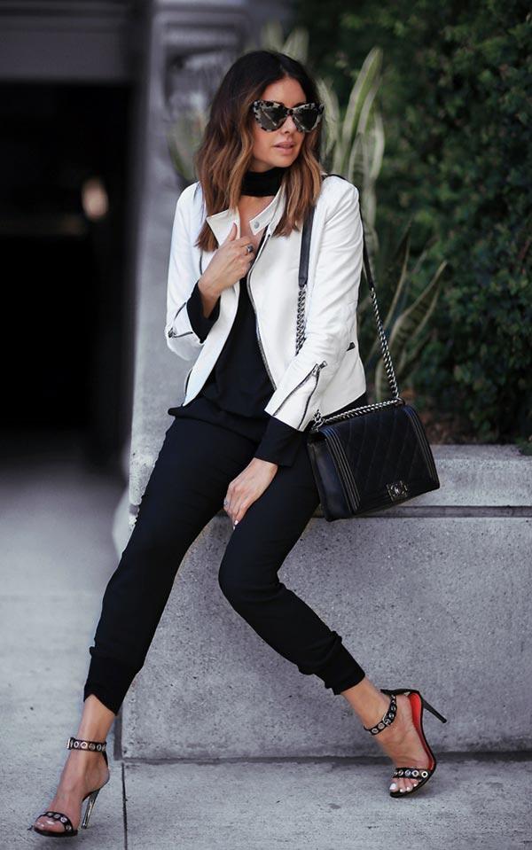 образ с белоснежной курткой и черными брюками
