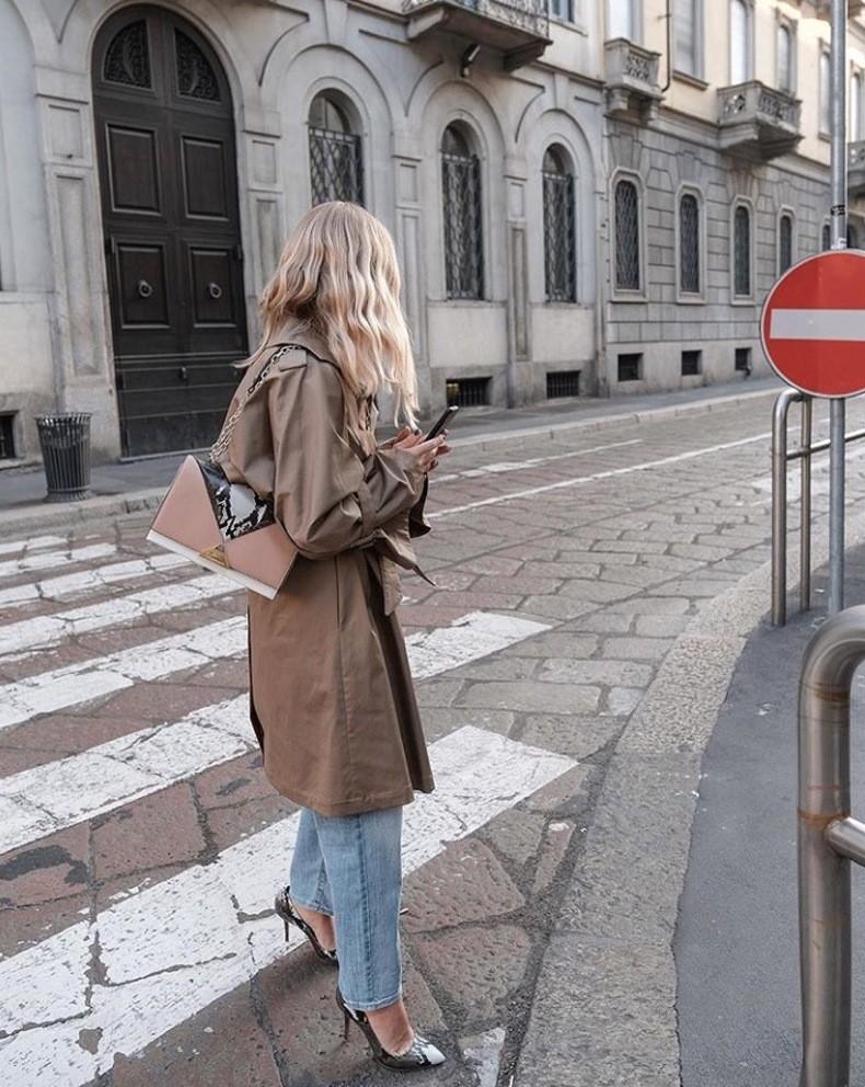 простой аутфит с джинсами, пальто и туфлями на каблуках