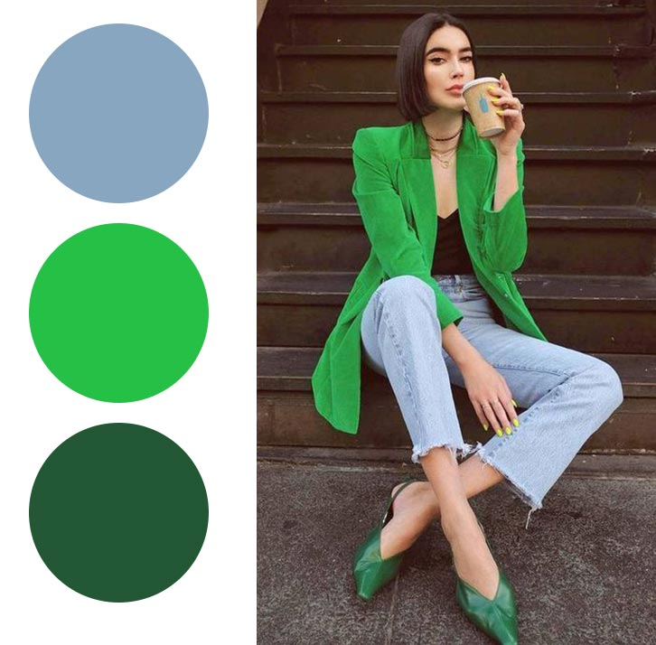 серый, зеленый и изумрудный