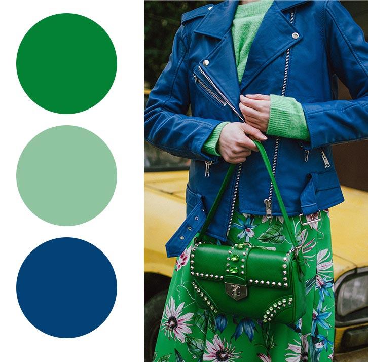 синий, мятный, зеленый - сочетание в одежде