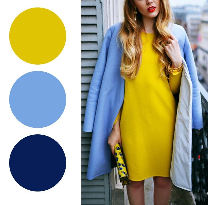 желтый, голубой, синий