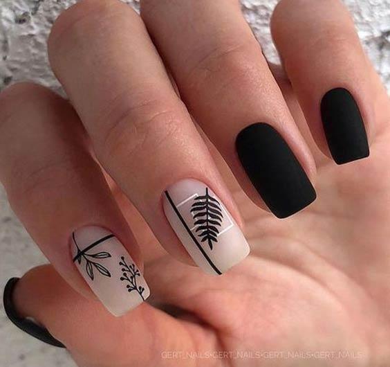 дизайн ногтей с растительным рисунком