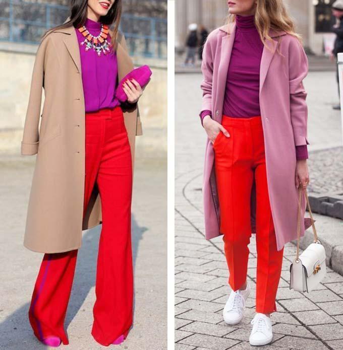 сочетание красного и фиолетового в одежде