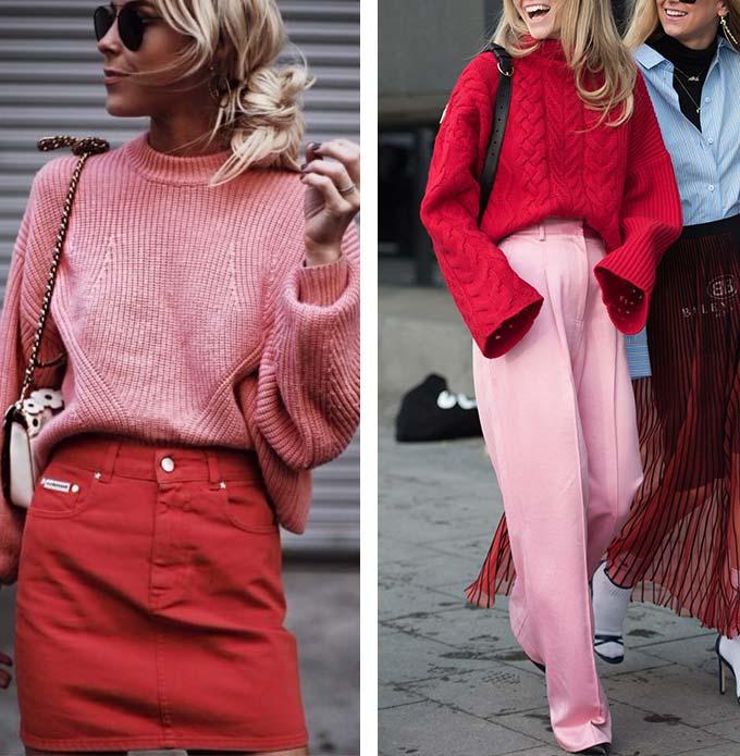 луки с розовым и красным цветом