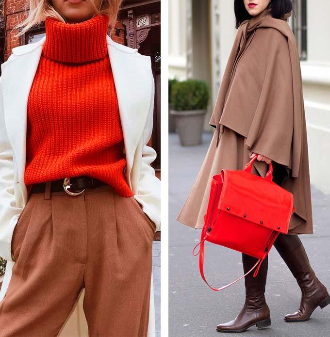 девушке в красной и коричневой одежде