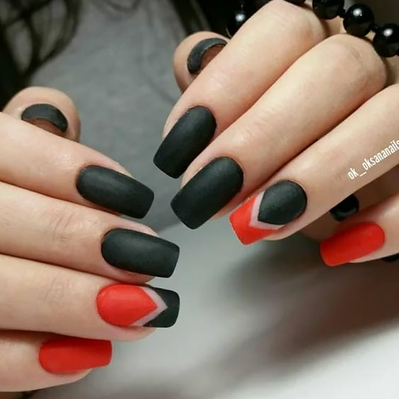 черный с красным матовым лаком