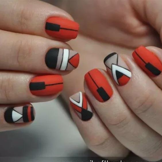 черный, красный и белый матовый лак сочетание на ногтях