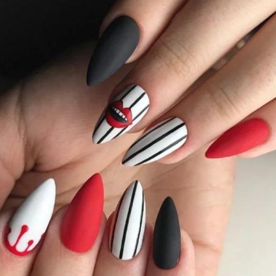 красный, белый. черный рисунок на ногтях