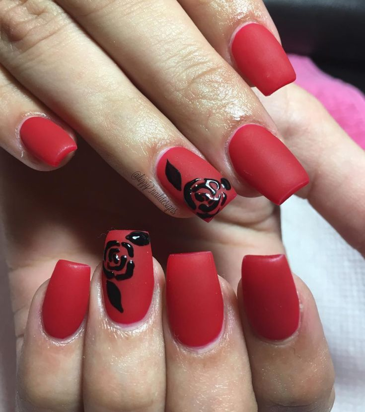рисунок черные розы на красном матовом фоне