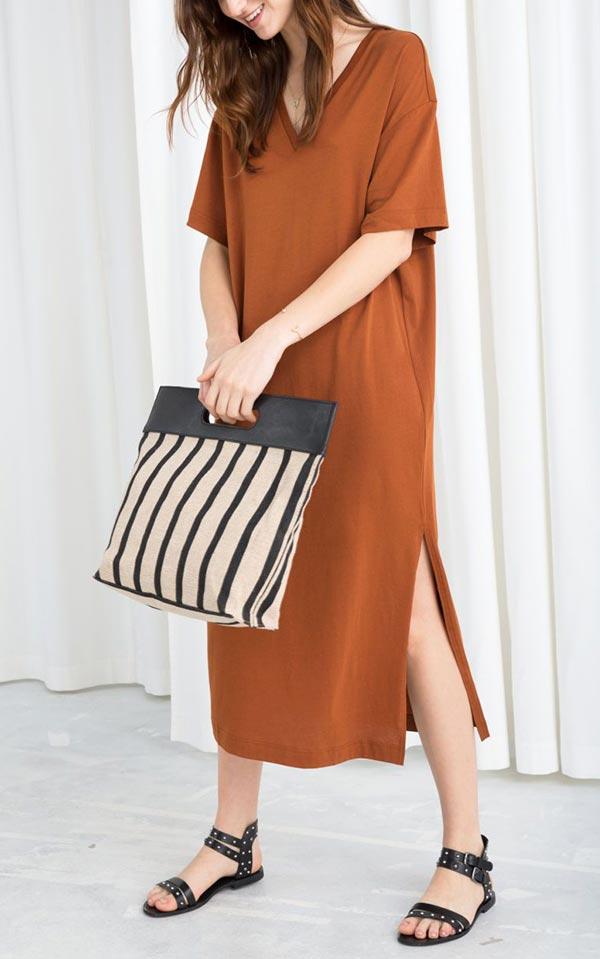однотонное платье-футболка терракотового цвета