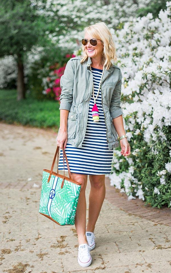 комбинация платье-футболка в полоску и летняя парка