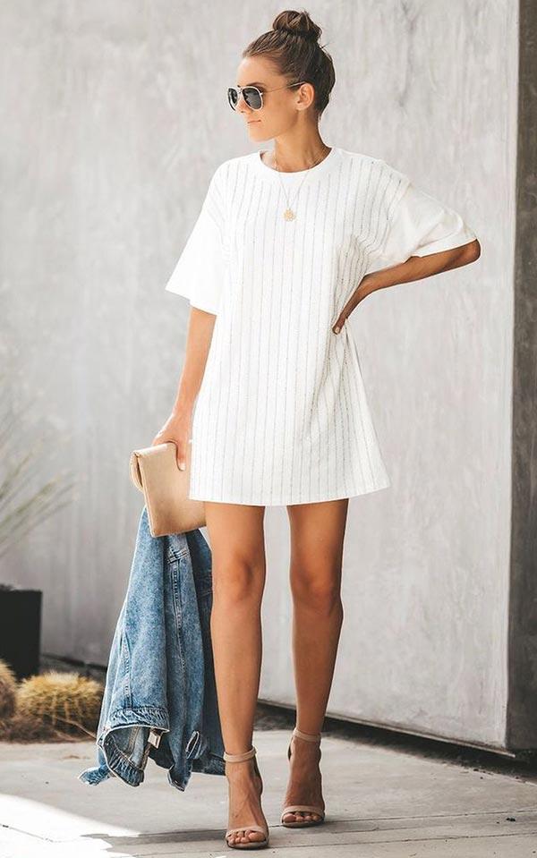 короткое платье футболка