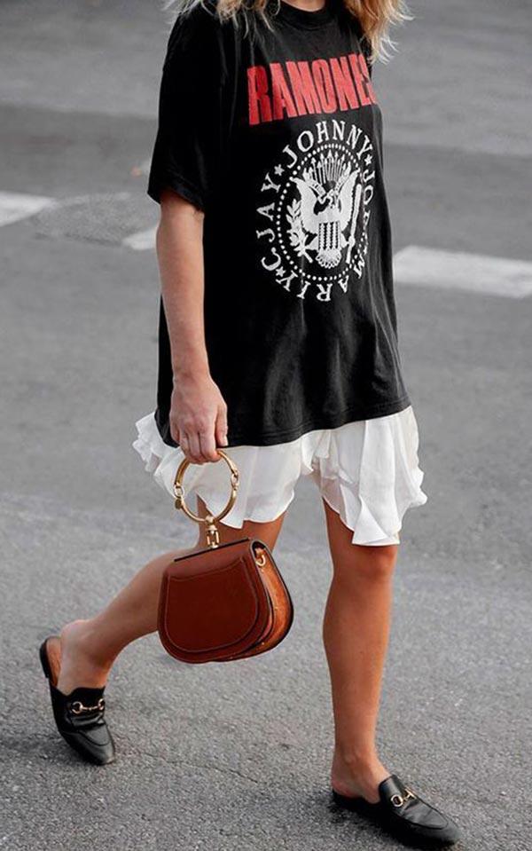 выбор сумки для образа с платьем футболкой