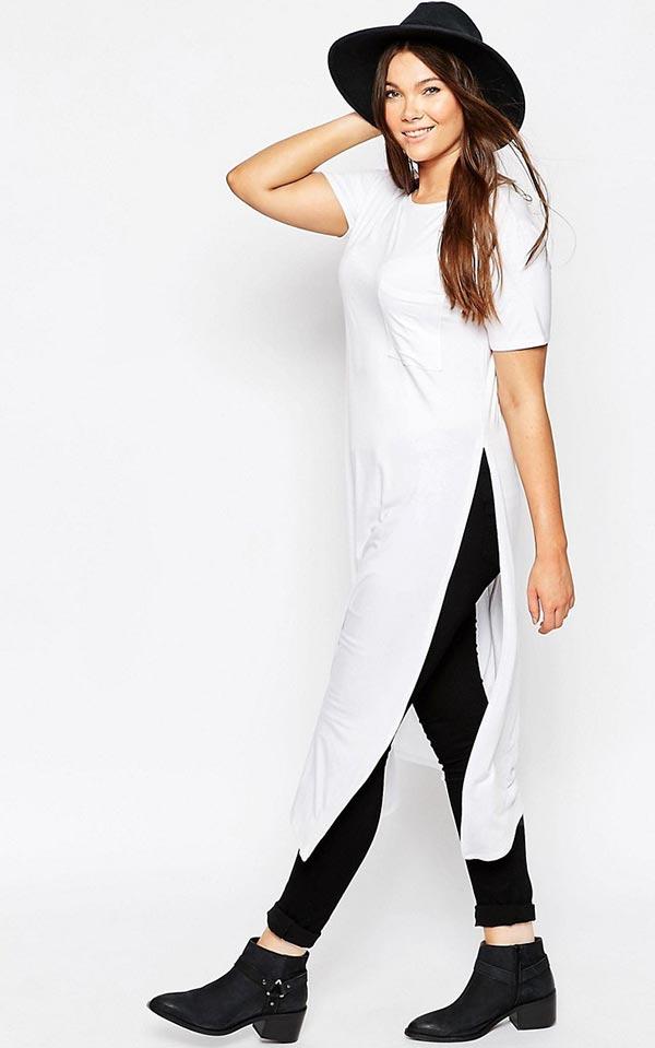 лук для осени с черными джинсами и белой майкой с разрезами