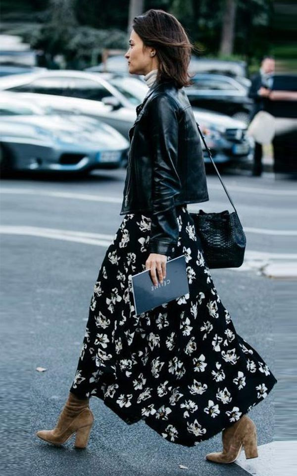 легкое шифоновое платье с сапогами