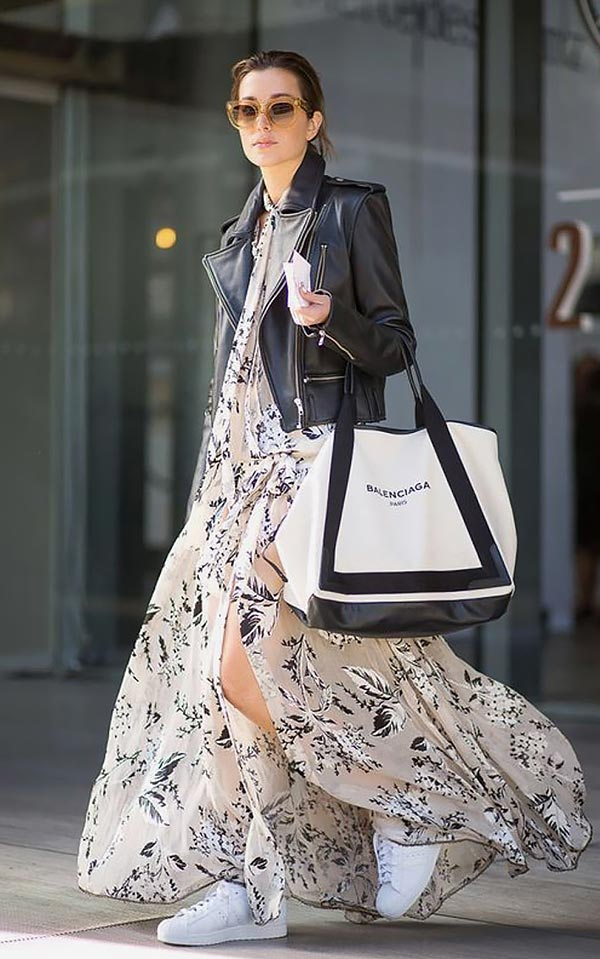 наряд с шифоновым платьем и сумкой-шоппером