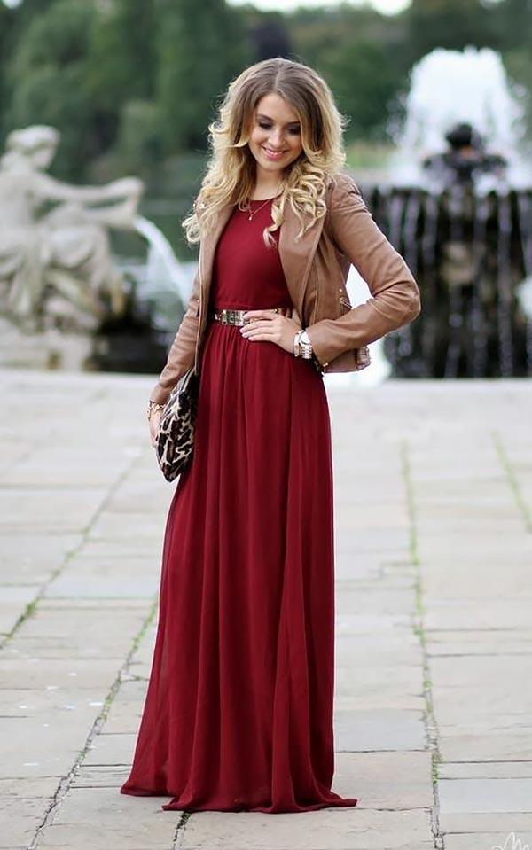 бордовое платье с кожаной курткой