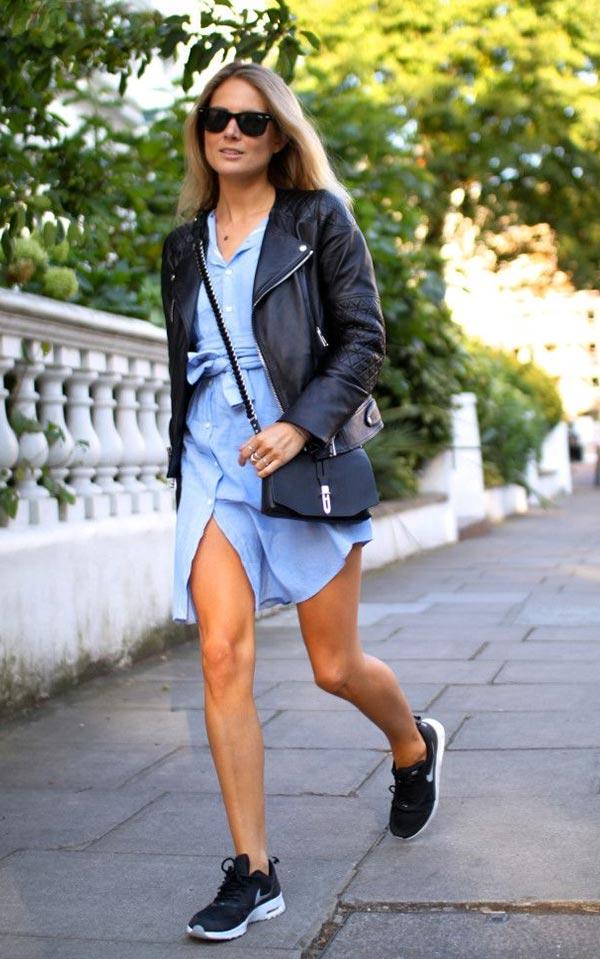 джинсовое платье и кожанка