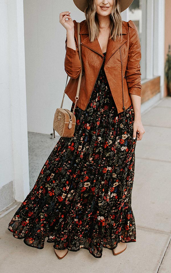 лук с платьем и коричневой кожанкой