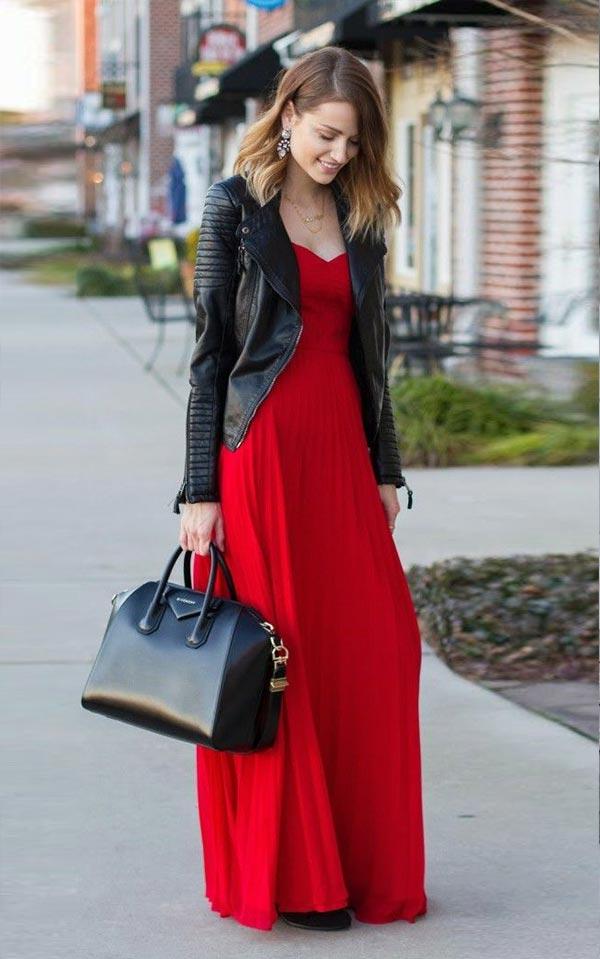 праздничный комплект с красным платьем в тол и черной кожанкой