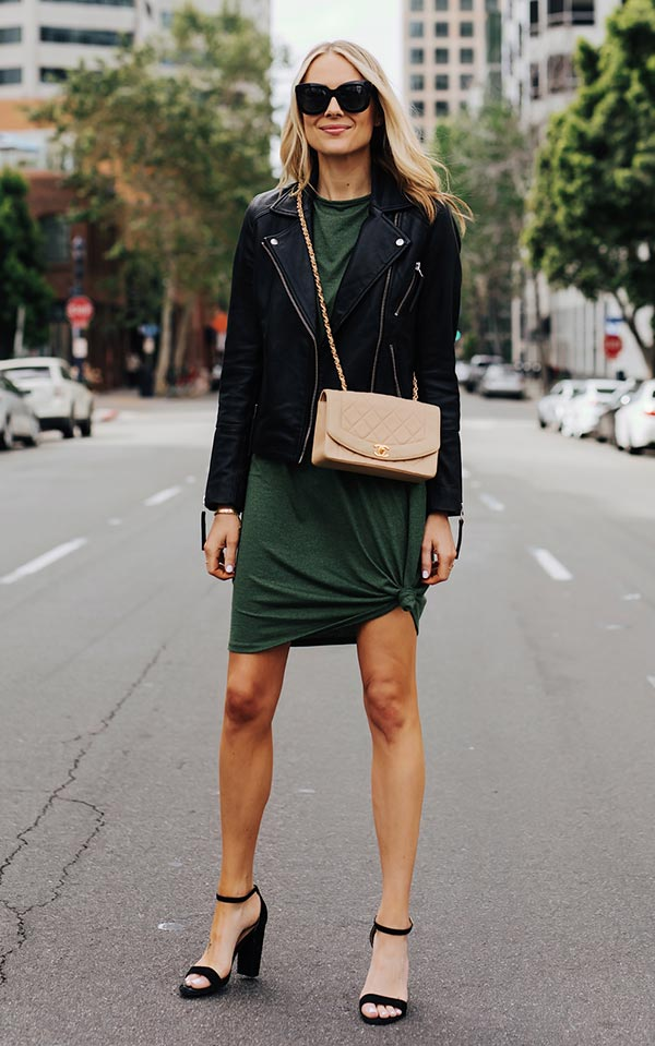 платье с кожаной курткой