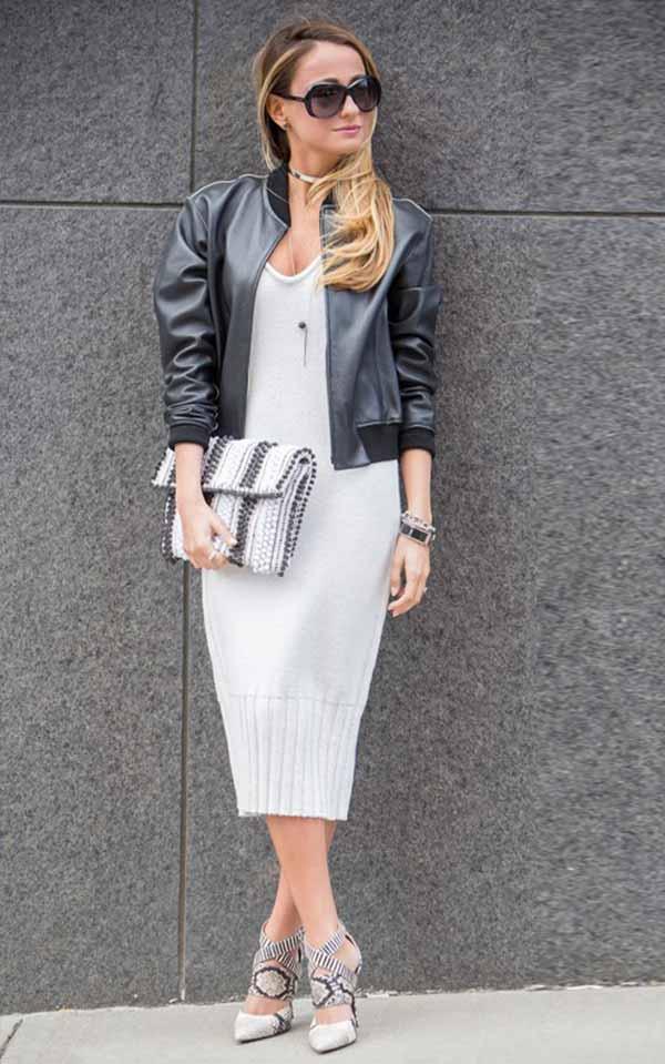 вязанное платье с курткой-бомбером из кожи