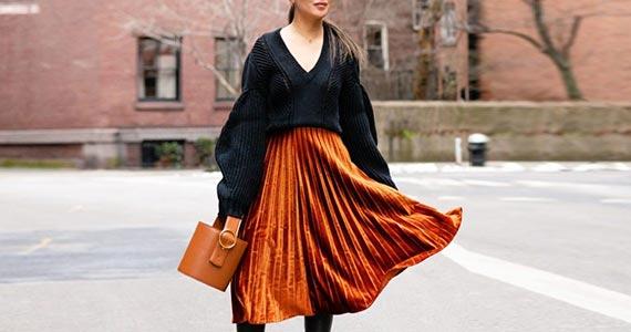 Бархатная плиссированная юбка (плиссе)