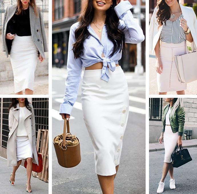 белая юбка карандаш с чем ее носить и сочетать