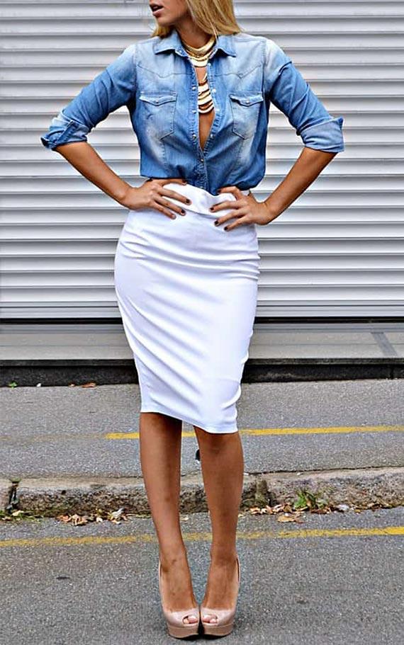 белая юбка карандаш с джинсовой рубашкой - образ на каждый деньх