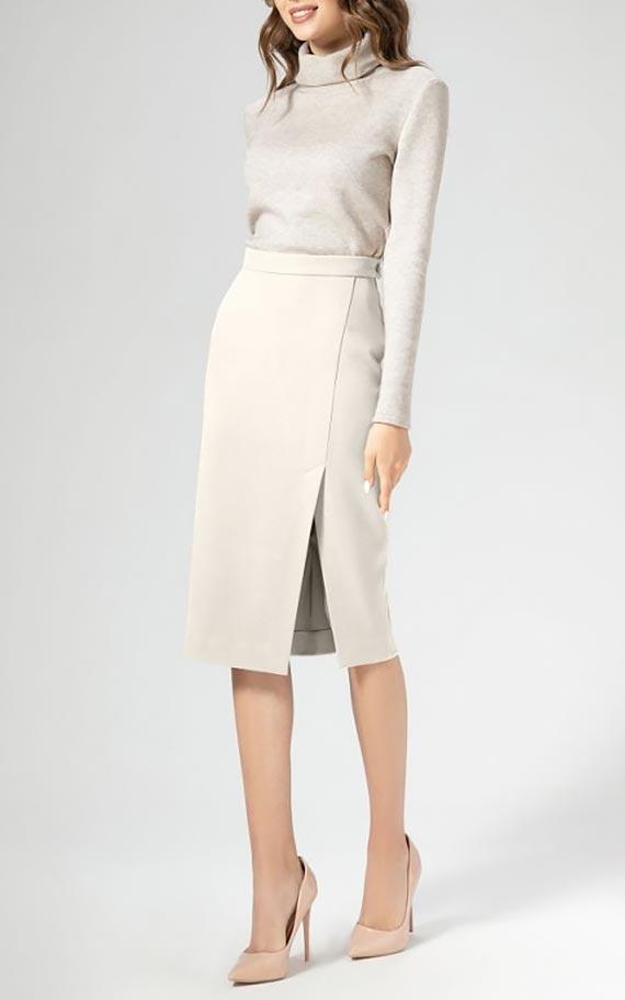 белая юбка карандаш и водолазка