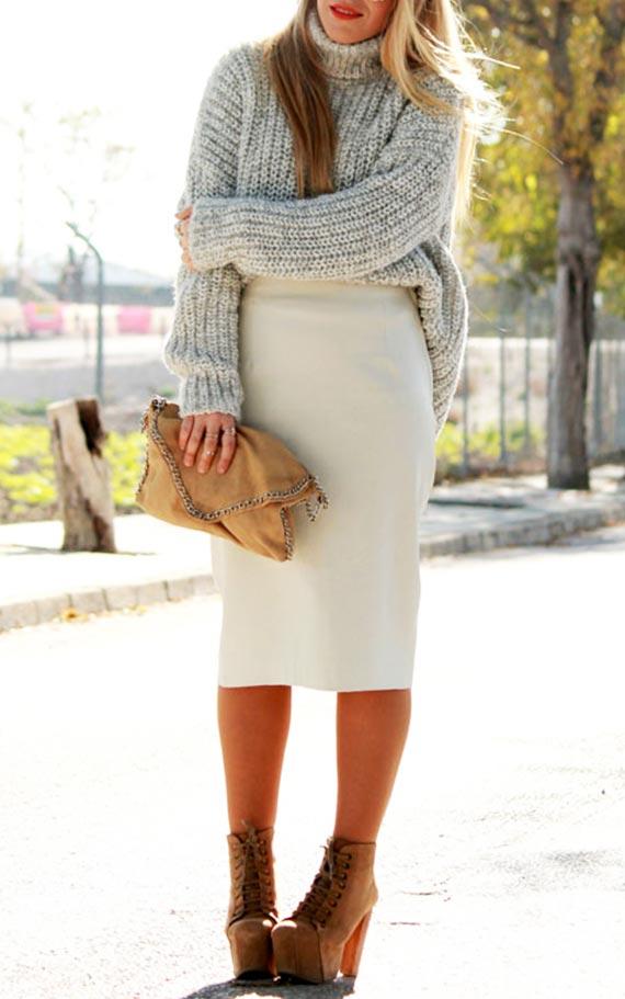 осенный лук со свитером с горлом