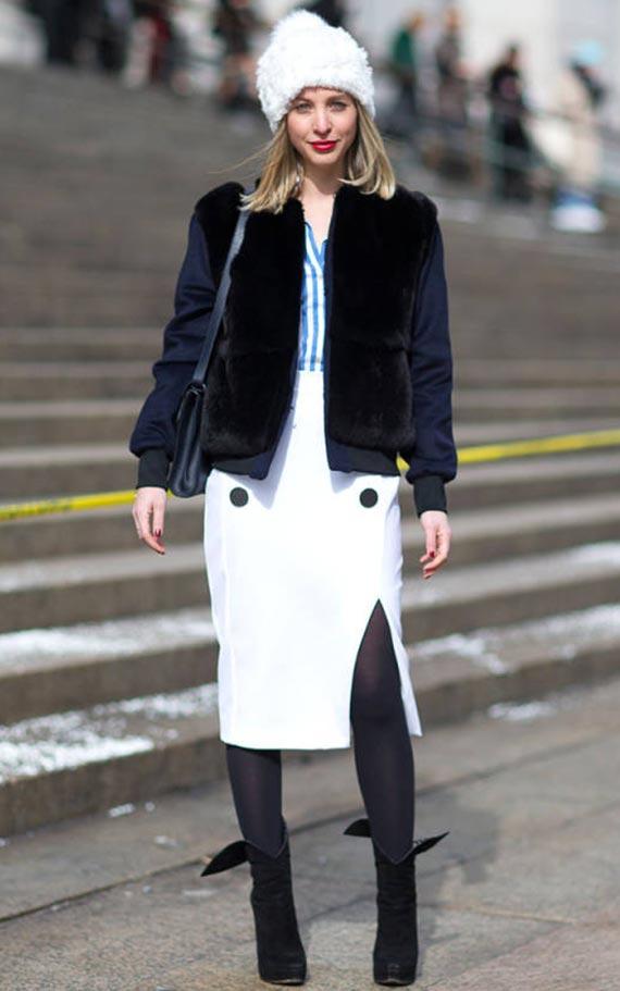 белая юбка карандаш для зимы