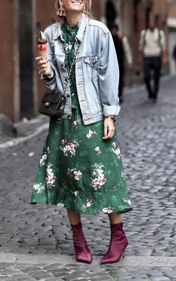 джинсовка оверсайз с платьем в цветочек