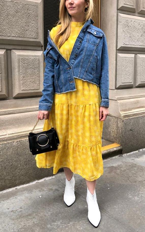лук с желтым платьем