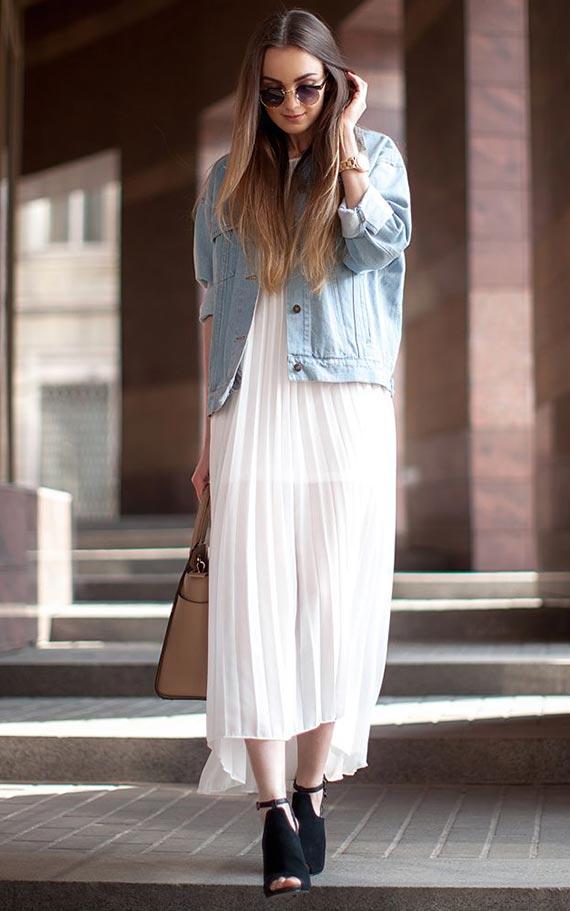 шифоновое платье с джинсовкой
