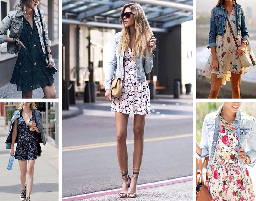 платье с цветочным принтом и джинсовой курткой